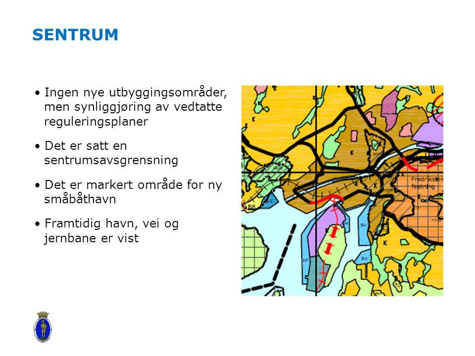 SENTRUM Ingen nye utbyggingsområder, men synliggjøring av vedtatte reguleringsplaner Det er satt en sentrumsavsgrensning Det er markert område for ny småbåthavn Framtidig havn, vei og jernbane er vist