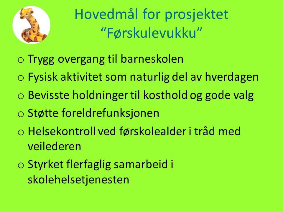 """Hovedmål for prosjektet """"Førskulevukku"""" o Trygg overgang til barneskolen o Fysisk aktivitet som naturlig del av hverdagen o Bevisste holdninger til ko"""