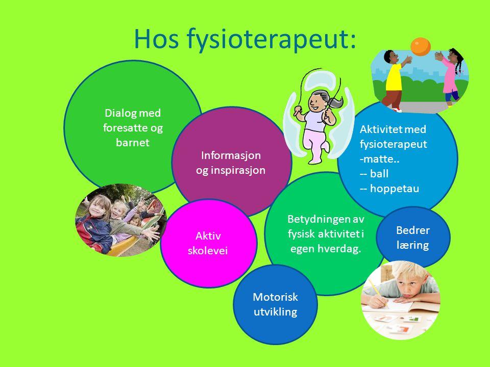 Hos fysioterapeut: Dialog med foresatte og barnet Informasjon og inspirasjon Aktiv skolevei Betydningen av fysisk aktivitet i egen hverdag. Aktivitet