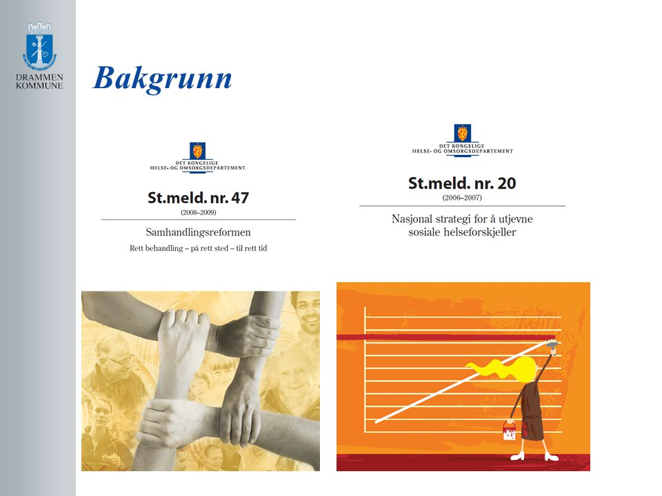 Linker til høringssakene Lov om folkehelse http://www.regjeringen.no/nb/dep/hod/dok/hoeringer/ hoeringsdok/2010/horing1.html?id=621026 Helse og omsorgslov http://www.regjeringen.no/nb/dep/hod/dok/hoeringer/ hoeringsdok/2010/horing2.html?id=621189 Innspill til nasjonal helse- og omsorgsplan https://fremtidenshelsetjeneste.regjeringen.no/