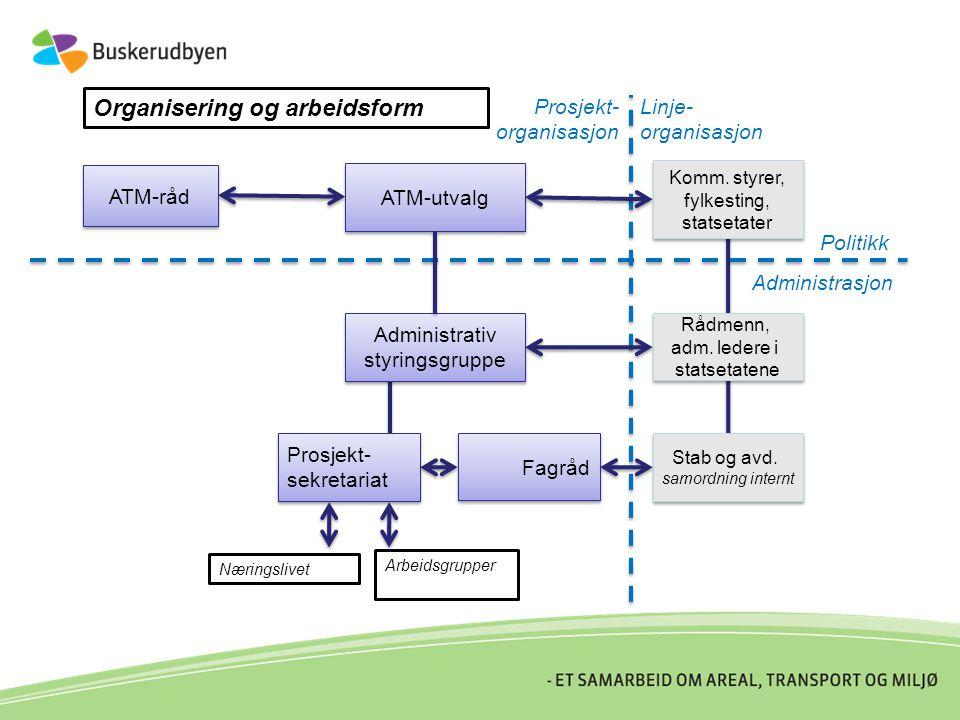 ATM-råd Administrativ styringsgruppe Administrativ styringsgruppe ATM-utvalg Prosjekt- sekretariat Prosjekt- sekretariat Fagråd Stab og avd.