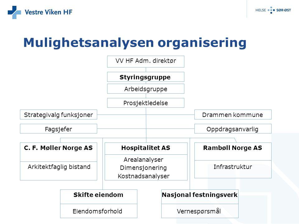 Mulighetsanalysen organisering Drammen kommune VV HF Adm. direktør Styringsgruppe Arbeidsgruppe Strategivalg funksjoner OppdragsanvarligFagsjefer C. F