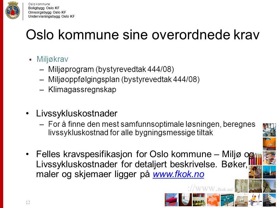 Oslo kommune Boligbygg Oslo KF Omsorgsbygg Oslo KF Undervisningsbygg Oslo KF ://www.