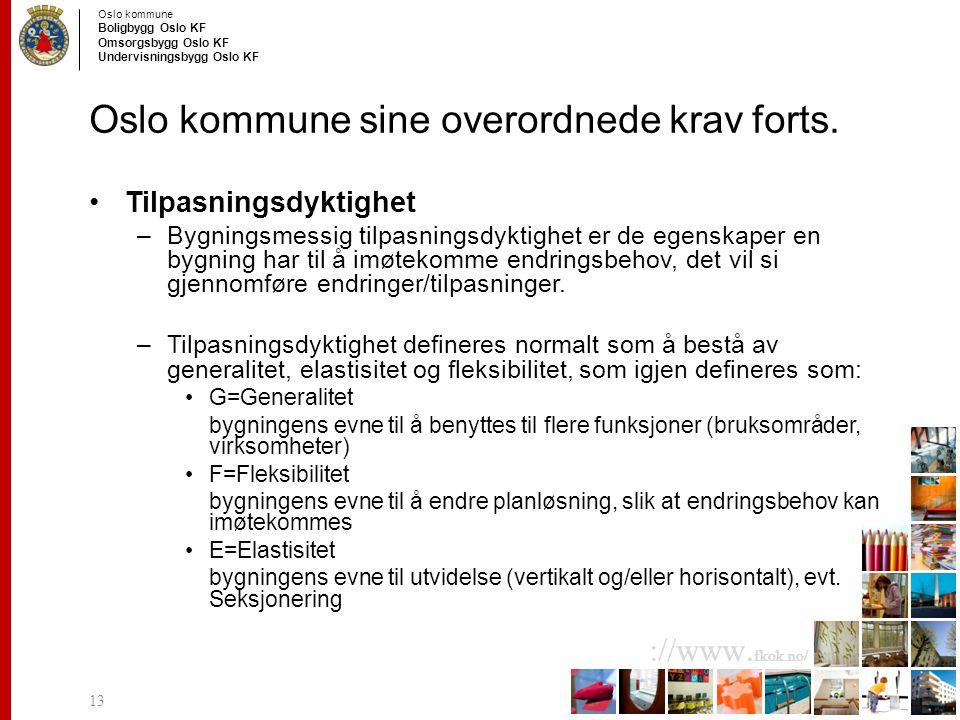 Oslo kommune Boligbygg Oslo KF Omsorgsbygg Oslo KF Undervisningsbygg Oslo KF ://www. fkok.no/ Oslo kommune sine overordnede krav forts. Tilpasningsdyk