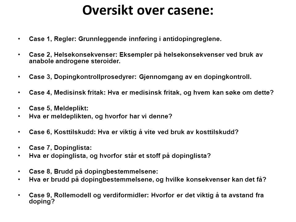 Oversikt over casene: Case 1, Regler: Grunnleggende innføring i antidopingreglene. Case 2, Helsekonsekvenser: Eksempler på helsekonsekvenser ved bruk