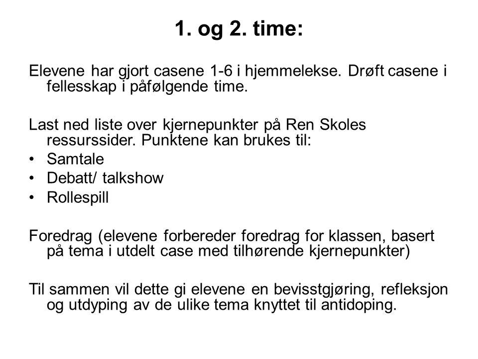 3.og 4.time: La elevene gjøre casene 7-12 i hjemmelekse.