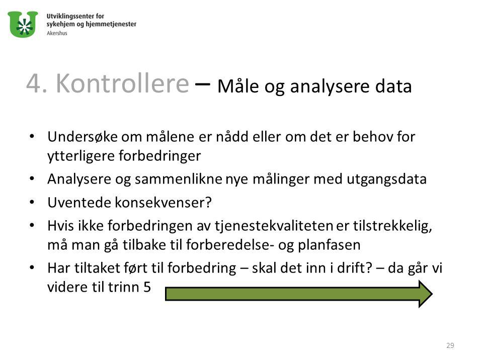 4. Kontrollere – Måle og analysere data Undersøke om målene er nådd eller om det er behov for ytterligere forbedringer Analysere og sammenlikne nye må