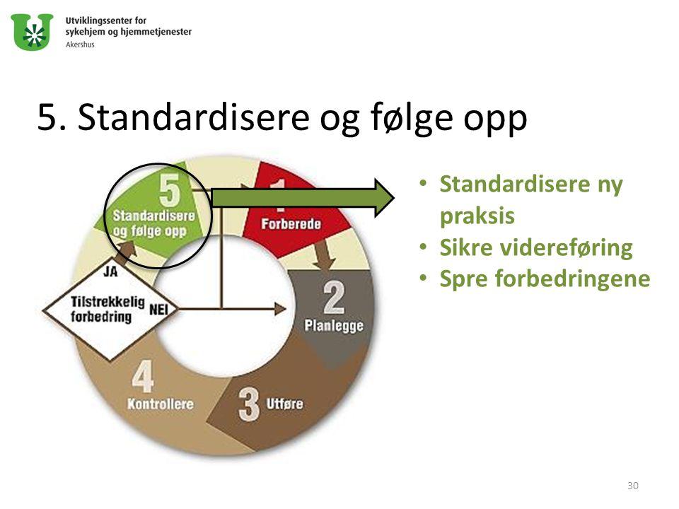 5. Standardisere og følge opp Standardisere ny praksis Sikre videreføring Spre forbedringene 30