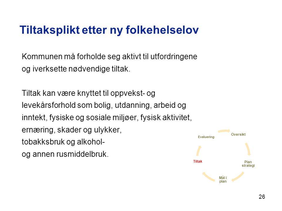 26 Tiltaksplikt etter ny folkehelselov Kommunen må forholde seg aktivt til utfordringene og iverksette nødvendige tiltak. Tiltak kan være knyttet til