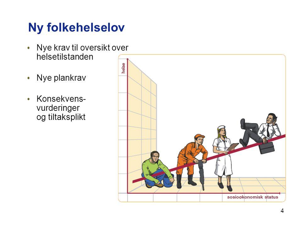 4 Ny folkehelselov Nye krav til oversikt over helsetilstanden Nye plankrav Konsekvens- vurderinger og tiltaksplikt