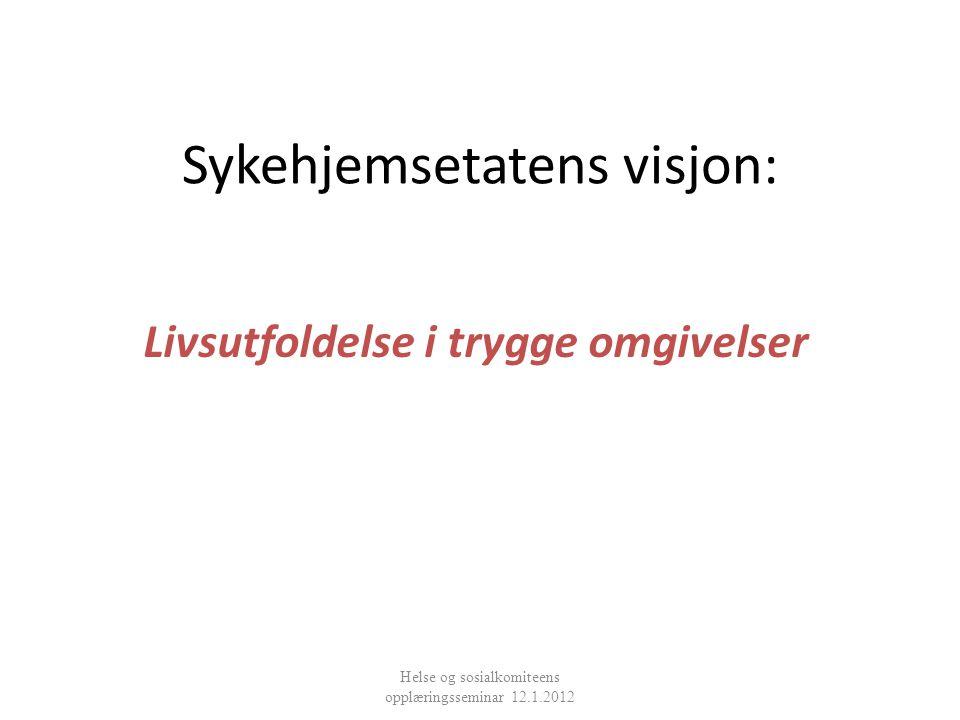 Sykehjemsetatens visjon: Livsutfoldelse i trygge omgivelser Helse og sosialkomiteens opplæringsseminar 12.1.2012