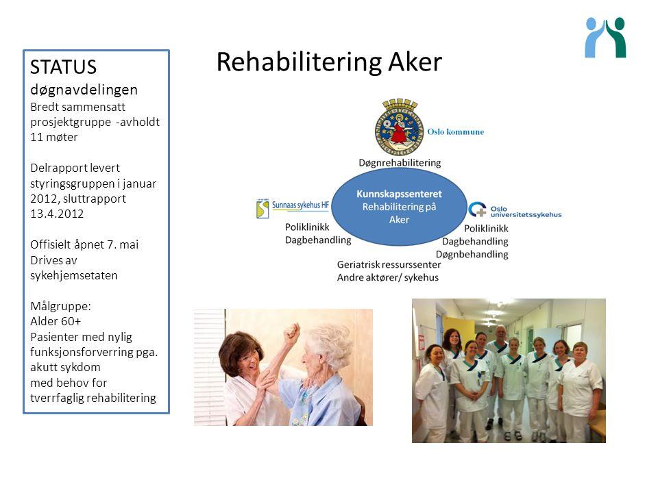 Rehabilitering Aker STATUS døgnavdelingen Bredt sammensatt prosjektgruppe -avholdt 11 møter Delrapport levert styringsgruppen i januar 2012, sluttrapp