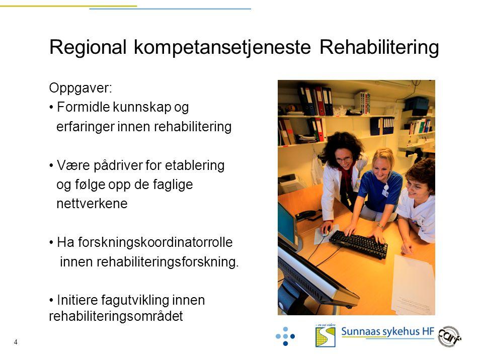 4 Regional kompetansetjeneste Rehabilitering Oppgaver: Formidle kunnskap og erfaringer innen rehabilitering Være pådriver for etablering og følge opp de faglige nettverkene Ha forskningskoordinatorrolle innen rehabiliteringsforskning.