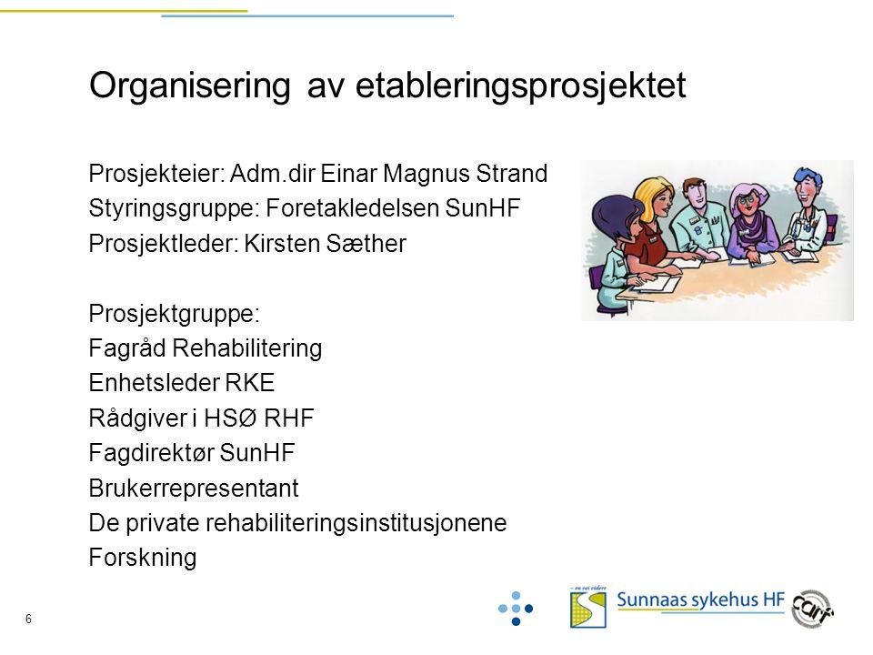 6 Organisering av etableringsprosjektet Prosjekteier: Adm.dir Einar Magnus Strand Styringsgruppe: Foretakledelsen SunHF Prosjektleder: Kirsten Sæther