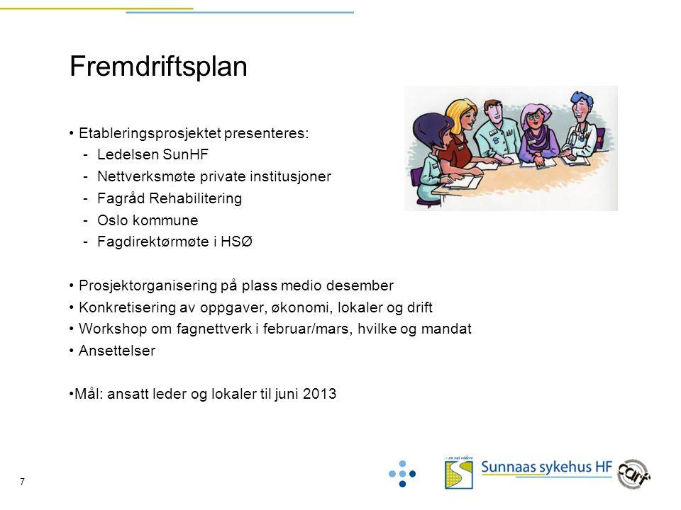 7 Fremdriftsplan Etableringsprosjektet presenteres: -Ledelsen SunHF -Nettverksmøte private institusjoner -Fagråd Rehabilitering -Oslo kommune -Fagdire