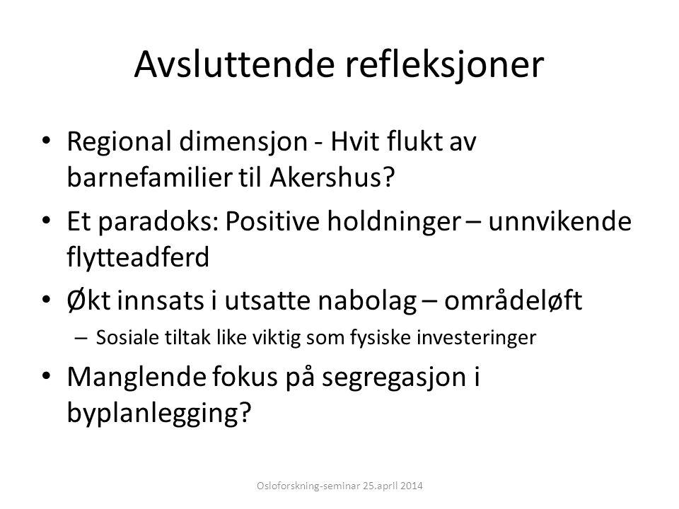 Avsluttende refleksjoner Regional dimensjon - Hvit flukt av barnefamilier til Akershus? Et paradoks: Positive holdninger – unnvikende flytteadferd Økt