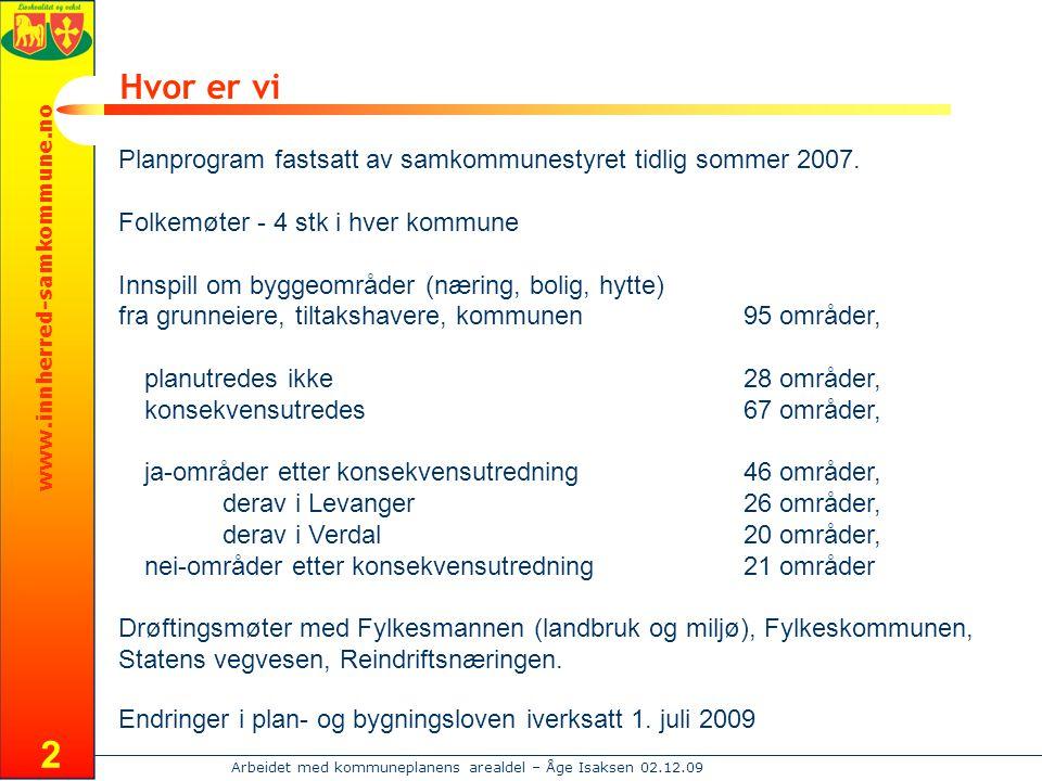 www.innherred-samkommune.no Arbeidet med kommuneplanens arealdel – Åge Isaksen 02.12.09 2 Hvor er vi Planprogram fastsatt av samkommunestyret tidlig sommer 2007.