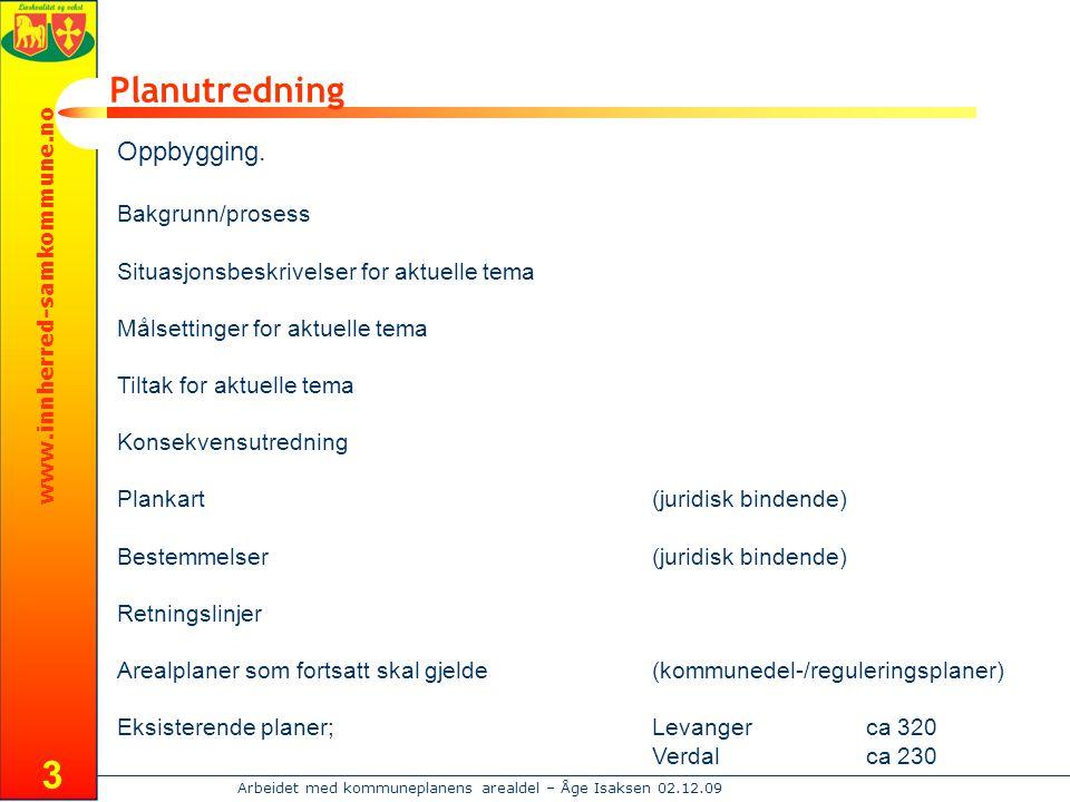 www.innherred-samkommune.no Arbeidet med kommuneplanens arealdel – Åge Isaksen 02.12.09 3 Planutredning Oppbygging. Bakgrunn/prosess Situasjonsbeskriv