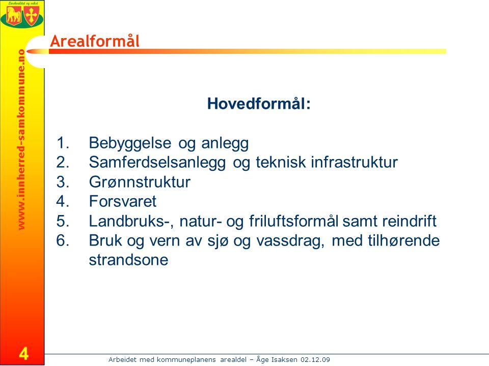 www.innherred-samkommune.no Arbeidet med kommuneplanens arealdel – Åge Isaksen 02.12.09 4 Arealformål Hovedformål: 1.Bebyggelse og anlegg 2.Samferdsel