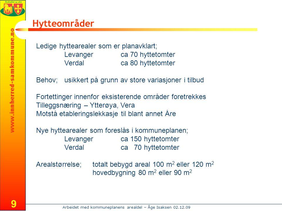 www.innherred-samkommune.no Arbeidet med kommuneplanens arealdel – Åge Isaksen 02.12.09 9 Hytteområder Ledige hyttearealer som er planavklart; Levange