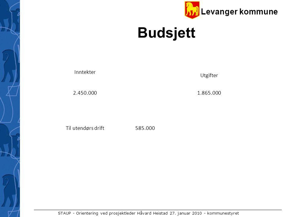 Levanger kommune STAUP - Orientering ved prosjektleder Håvard Heistad 27. januar 2010 - kommunestyret Budsjett Inntekter Utgifter 2.450.0001.865.000 T