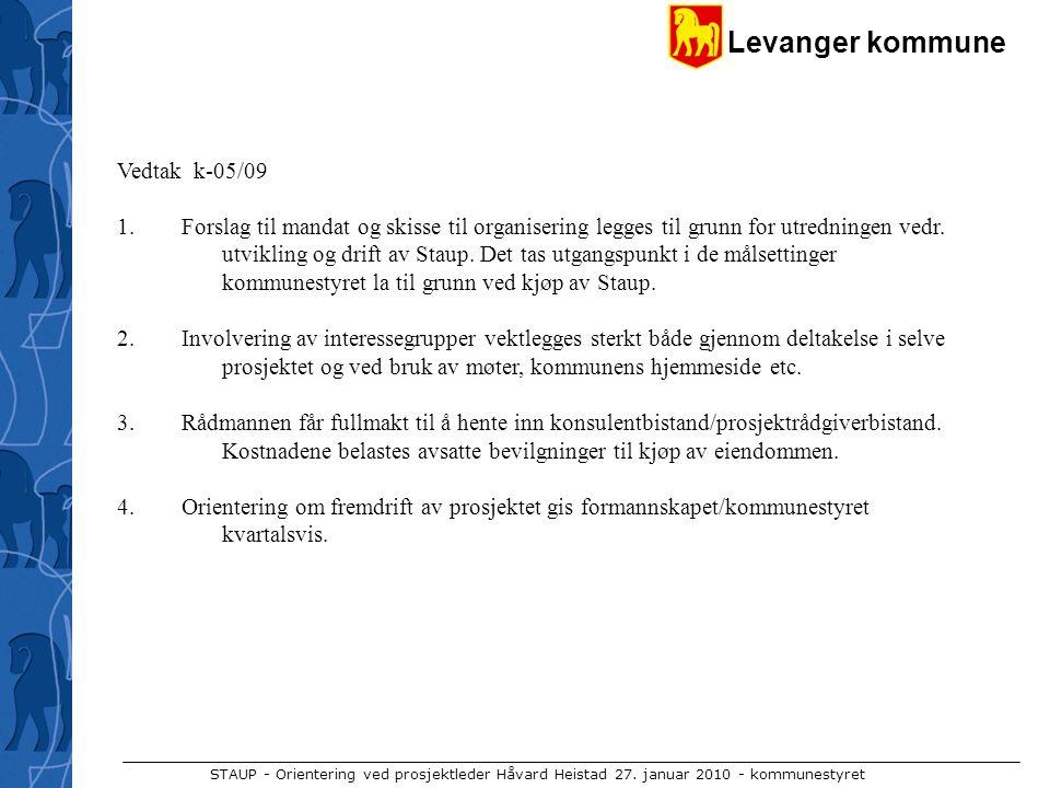 Levanger kommune STAUP - Orientering ved prosjektleder Håvard Heistad 27. januar 2010 - kommunestyret Vedtak k-05/09 1. Forslag til mandat og skisse t