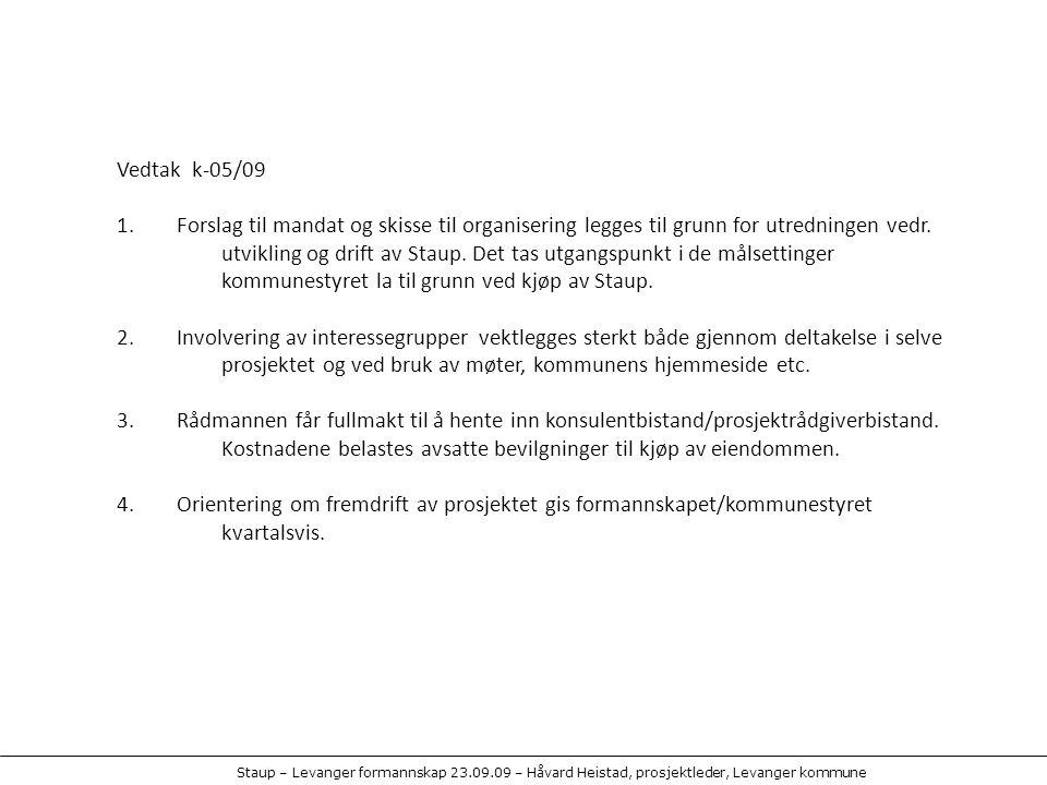 Vedtak k-05/09 1. Forslag til mandat og skisse til organisering legges til grunn for utredningen vedr. utvikling og drift av Staup. Det tas utgangspun