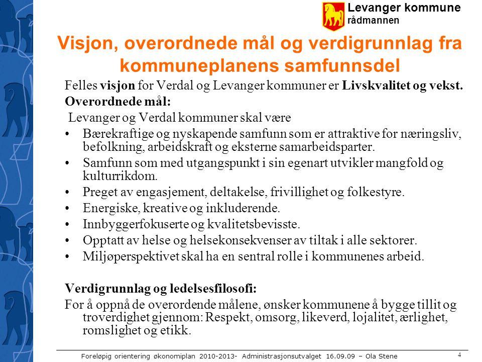 Levanger kommune rådmannen Foreløpig orientering økonomiplan 2010-2013- Administrasjonsutvalget 16.09.09 – Ola Stene 4 Visjon, overordnede mål og verd