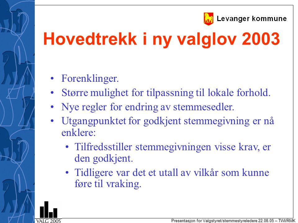 Presentasjon for Valgstyret/stemmestyreledere 22.08.05 – TWI/RMK Forhåndsstemming og valgkort Forhåndsstemmegivning til kommunene.