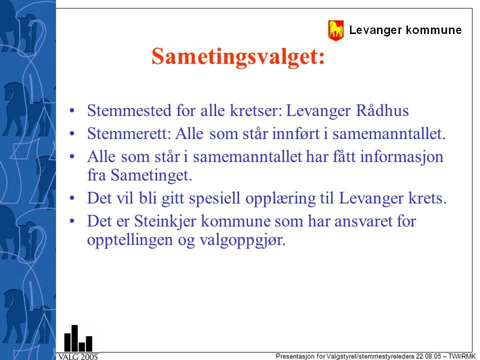 Presentasjon for Valgstyret/stemmestyreledere 22.08.05 – TWI/RMK Sametingsvalget: Stemmested for alle kretser: Levanger Rådhus Stemmerett: Alle som står innført i samemanntallet.