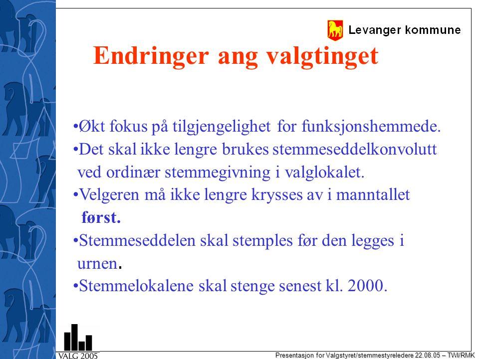 Presentasjon for Valgstyret/stemmestyreledere 22.08.05 – TWI/RMK Endringer ang valgtinget Økt fokus på tilgjengelighet for funksjonshemmede.
