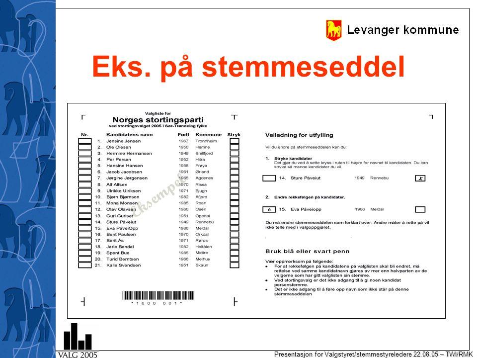 Presentasjon for Valgstyret/stemmestyreledere 22.08.05 – TWI/RMK Eloptel – org av arbeidet