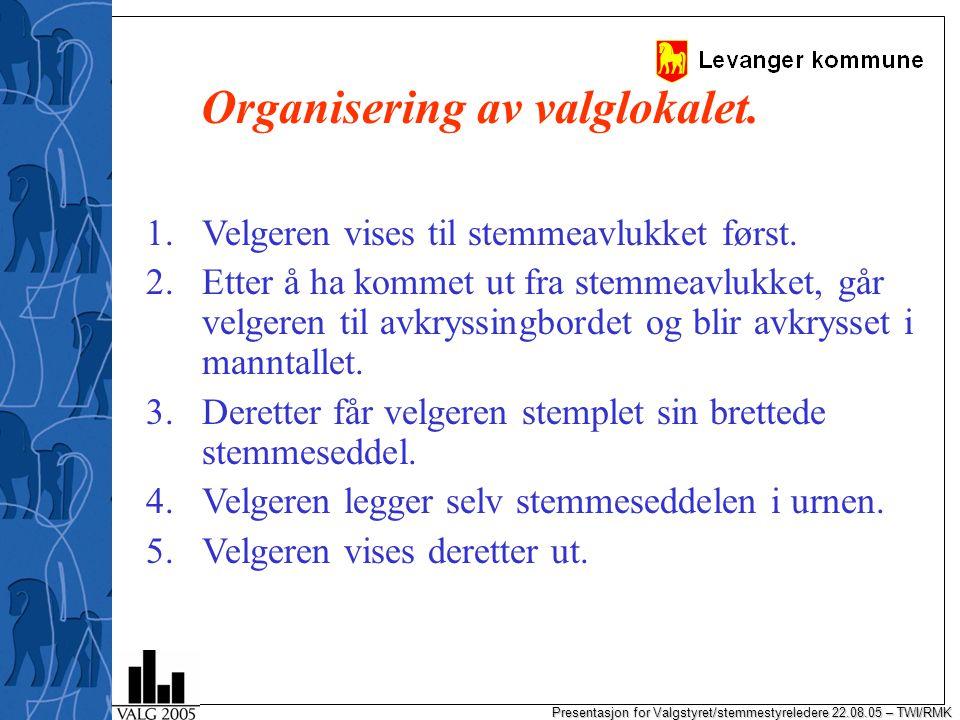 Presentasjon for Valgstyret/stemmestyreledere 22.08.05 – TWI/RMK Organisering av valglokalet.