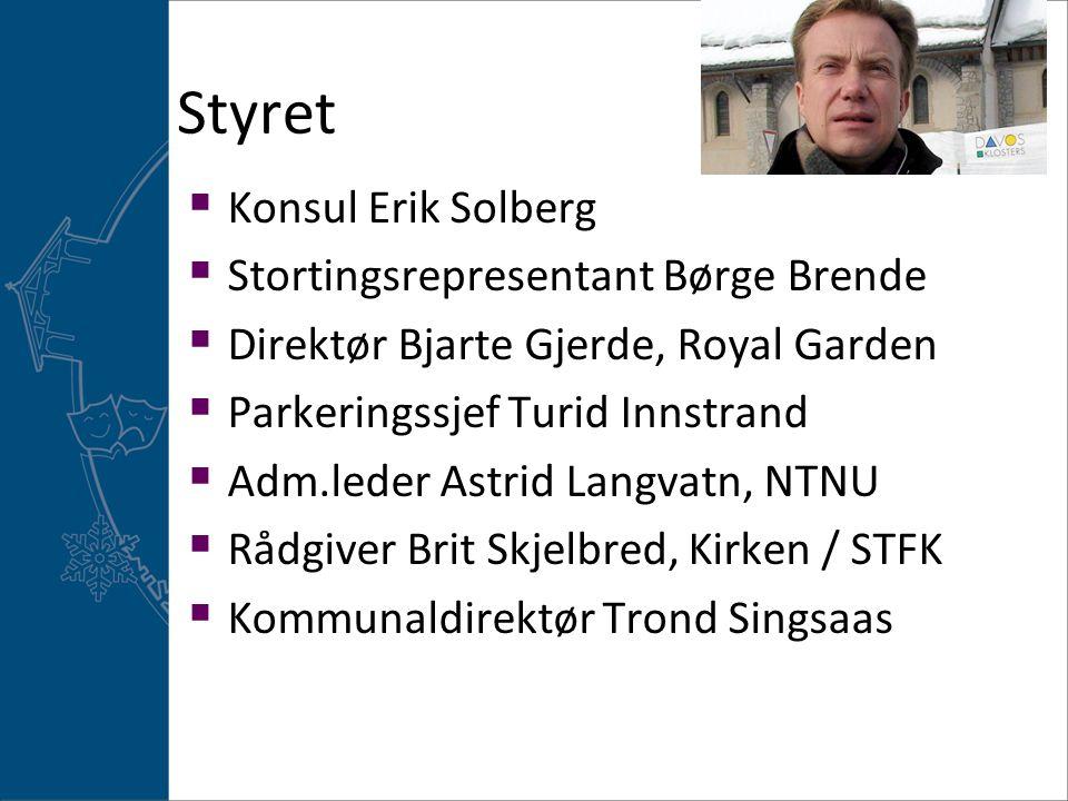 Styret  Konsul Erik Solberg  Stortingsrepresentant Børge Brende  Direktør Bjarte Gjerde, Royal Garden  Parkeringssjef Turid Innstrand  Adm.leder