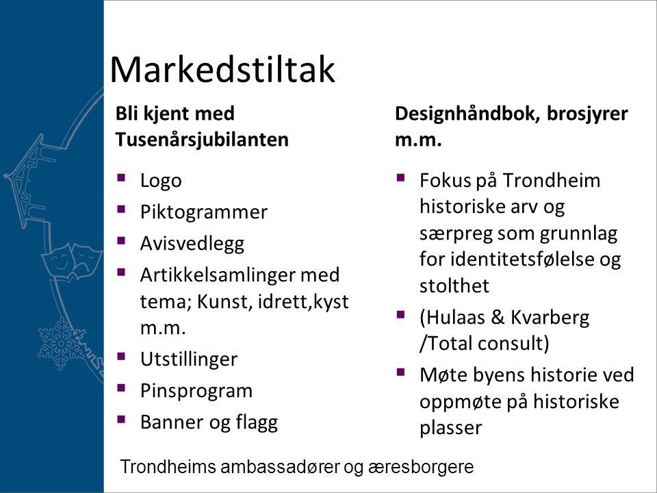 Markedstiltak Bli kjent med Tusenårsjubilanten  Fokus på Trondheim historiske arv og særpreg som grunnlag for identitetsfølelse og stolthet  (Hulaas & Kvarberg /Total consult)  Møte byens historie ved oppmøte på historiske plasser Designhåndbok, brosjyrer m.m.