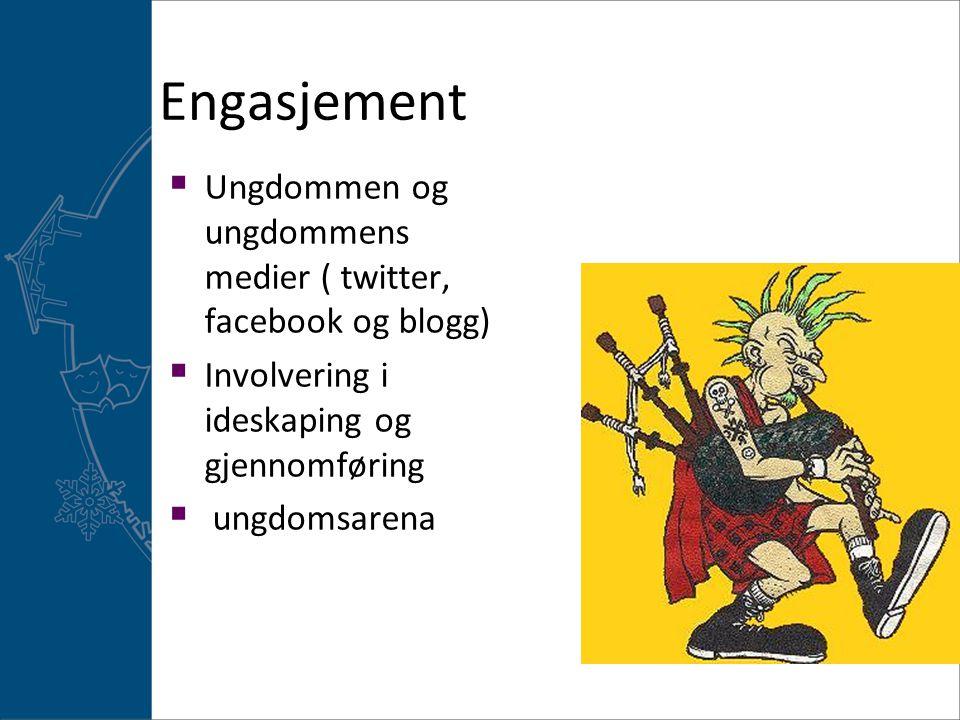 Engasjement  Ungdommen og ungdommens medier ( twitter, facebook og blogg)  Involvering i ideskaping og gjennomføring  ungdomsarena