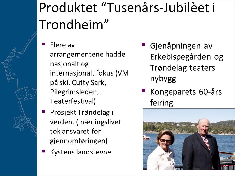 Produktet Tusenårs-Jubilèet i Trondheim  Flere av arrangementene hadde nasjonalt og internasjonalt fokus (VM på ski, Cutty Sark, Pilegrimsleden, Teaterfestival)  Prosjekt Trøndelag i verden.
