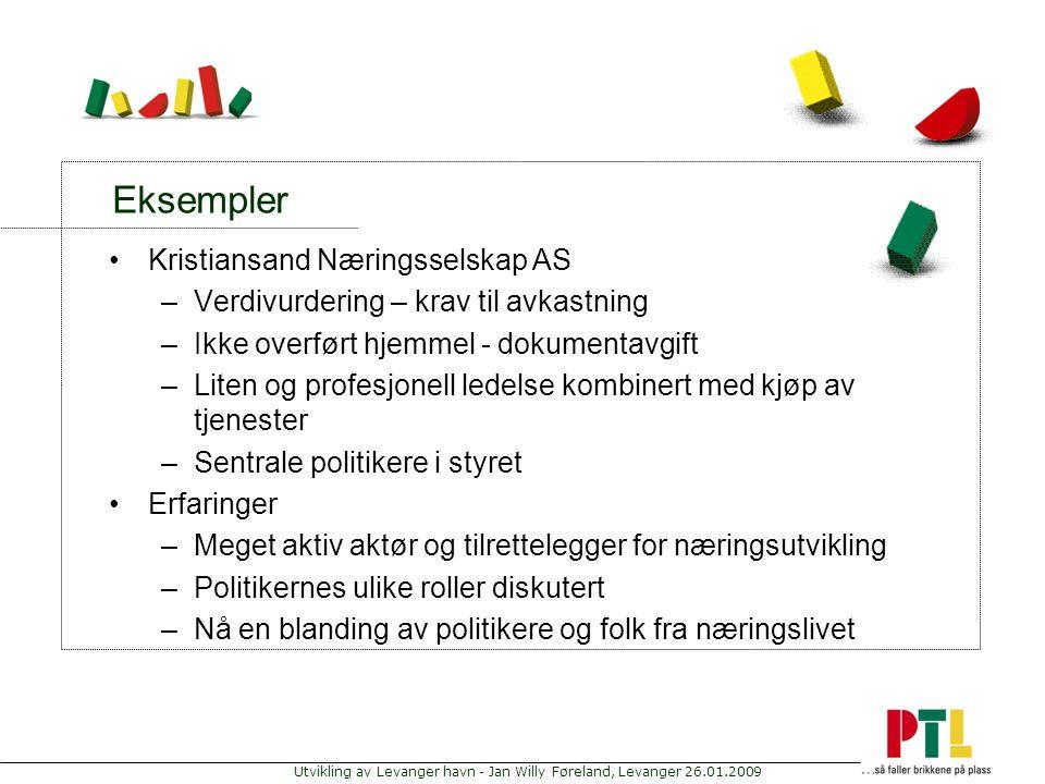Utvikling av Levanger havn - Jan Willy Føreland, Levanger 26.01.2009 Eksempler Kristiansand Næringsselskap AS –Verdivurdering – krav til avkastning –I