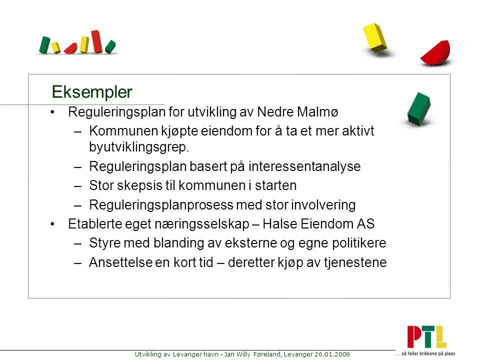 Utvikling av Levanger havn - Jan Willy Føreland, Levanger 26.01.2009 Eksempler Reguleringsplan for utvikling av Nedre Malmø –Kommunen kjøpte eiendom f