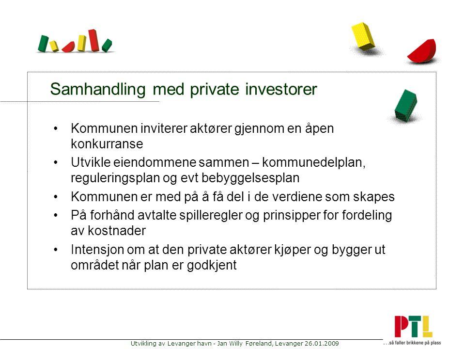 Utvikling av Levanger havn - Jan Willy Føreland, Levanger 26.01.2009 Samhandling med private investorer Kommunen inviterer aktører gjennom en åpen kon