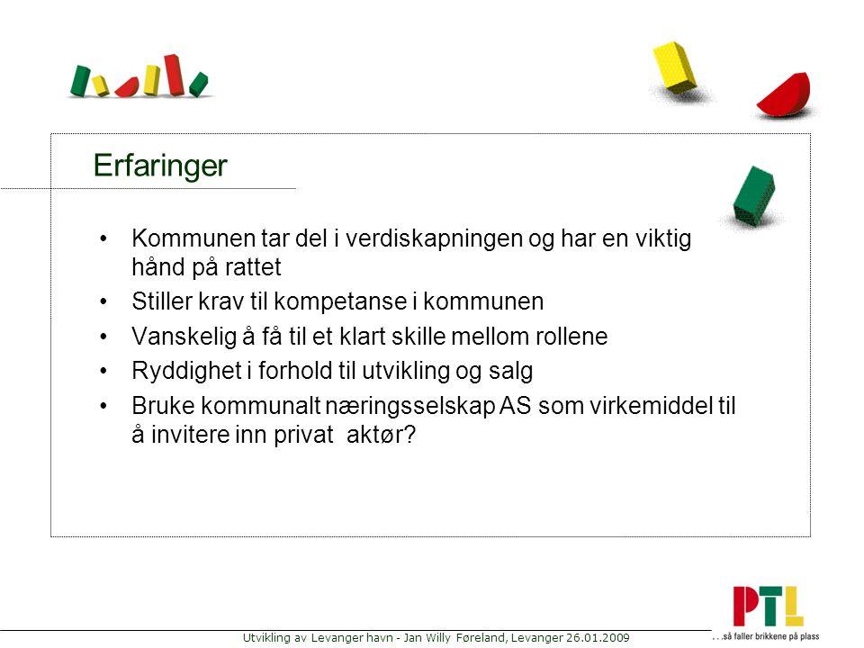 Utvikling av Levanger havn - Jan Willy Føreland, Levanger 26.01.2009 Erfaringer Kommunen tar del i verdiskapningen og har en viktig hånd på rattet Sti