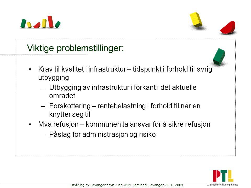 Utvikling av Levanger havn - Jan Willy Føreland, Levanger 26.01.2009 Viktige problemstillinger: Krav til kvalitet i infrastruktur – tidspunkt i forhol