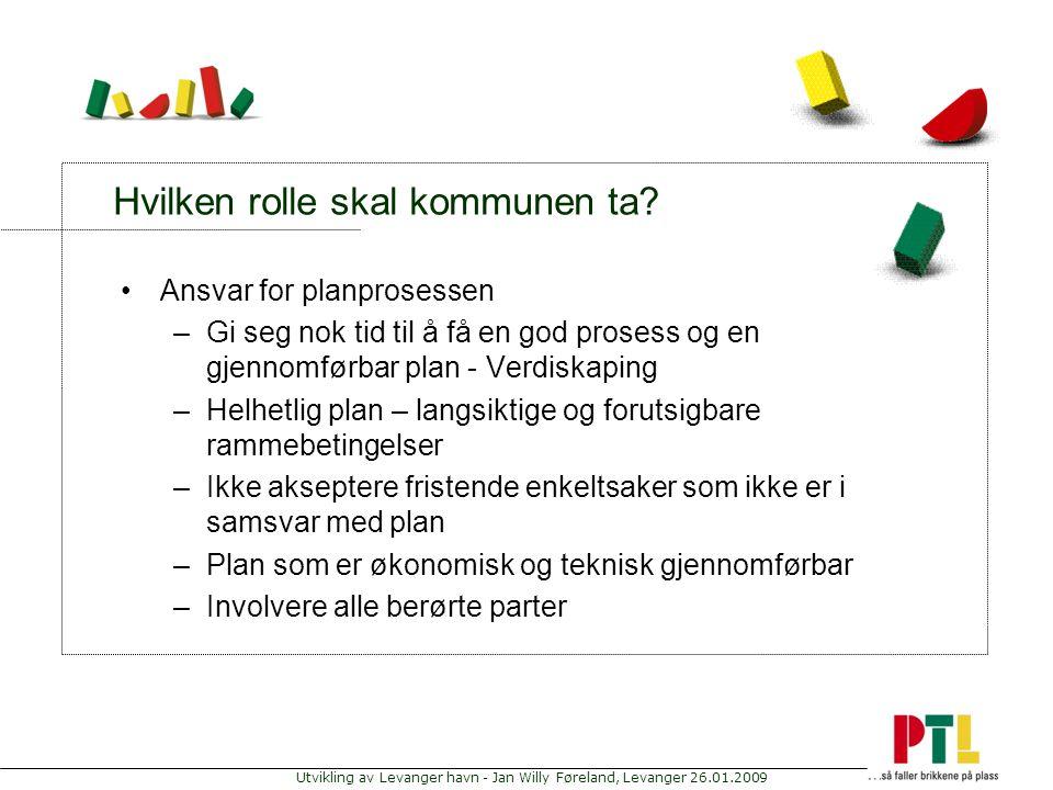 Utvikling av Levanger havn - Jan Willy Føreland, Levanger 26.01.2009 Hvilken rolle skal kommunen ta? Ansvar for planprosessen –Gi seg nok tid til å få
