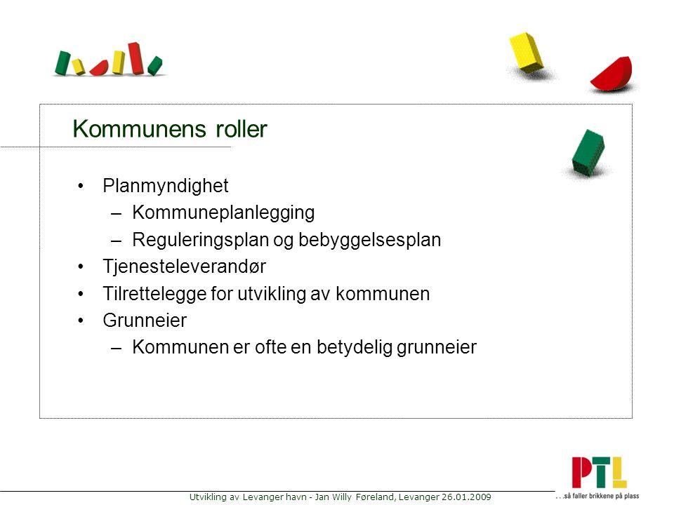 Utvikling av Levanger havn - Jan Willy Føreland, Levanger 26.01.2009 Kommunens roller Planmyndighet –Kommuneplanlegging –Reguleringsplan og bebyggelse
