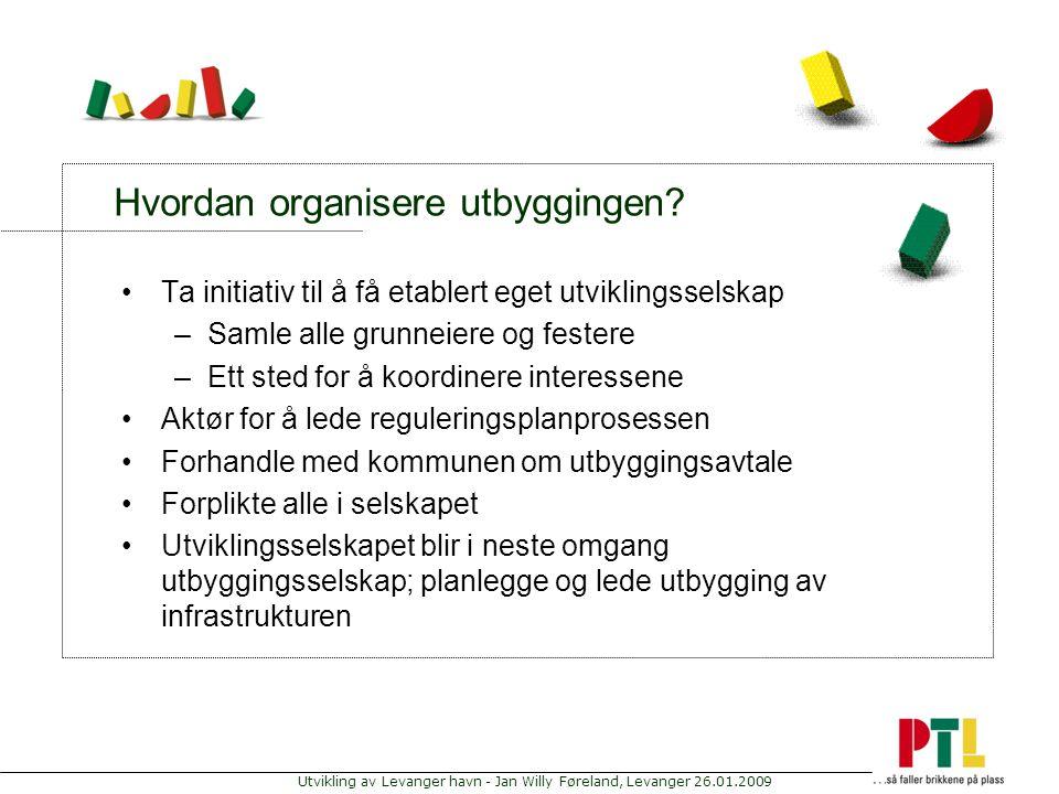Utvikling av Levanger havn - Jan Willy Føreland, Levanger 26.01.2009 Hvordan organisere utbyggingen? Ta initiativ til å få etablert eget utviklingssel