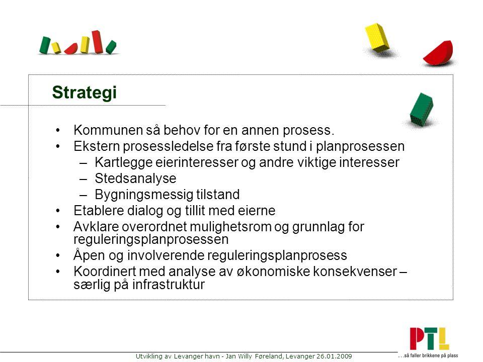 Utvikling av Levanger havn - Jan Willy Føreland, Levanger 26.01.2009 Strategi Kommunen så behov for en annen prosess. Ekstern prosessledelse fra først
