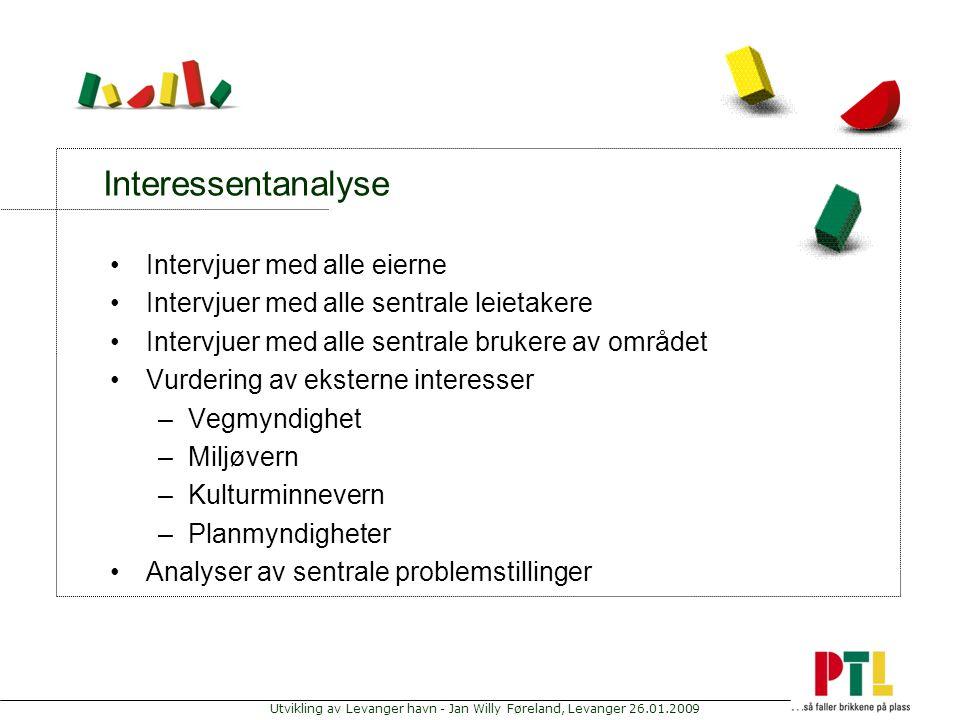 Utvikling av Levanger havn - Jan Willy Føreland, Levanger 26.01.2009 Interessentanalyse Intervjuer med alle eierne Intervjuer med alle sentrale leieta