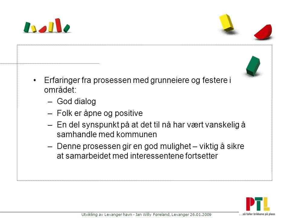 Utvikling av Levanger havn - Jan Willy Føreland, Levanger 26.01.2009 Erfaringer fra prosessen med grunneiere og festere i området: –God dialog –Folk e