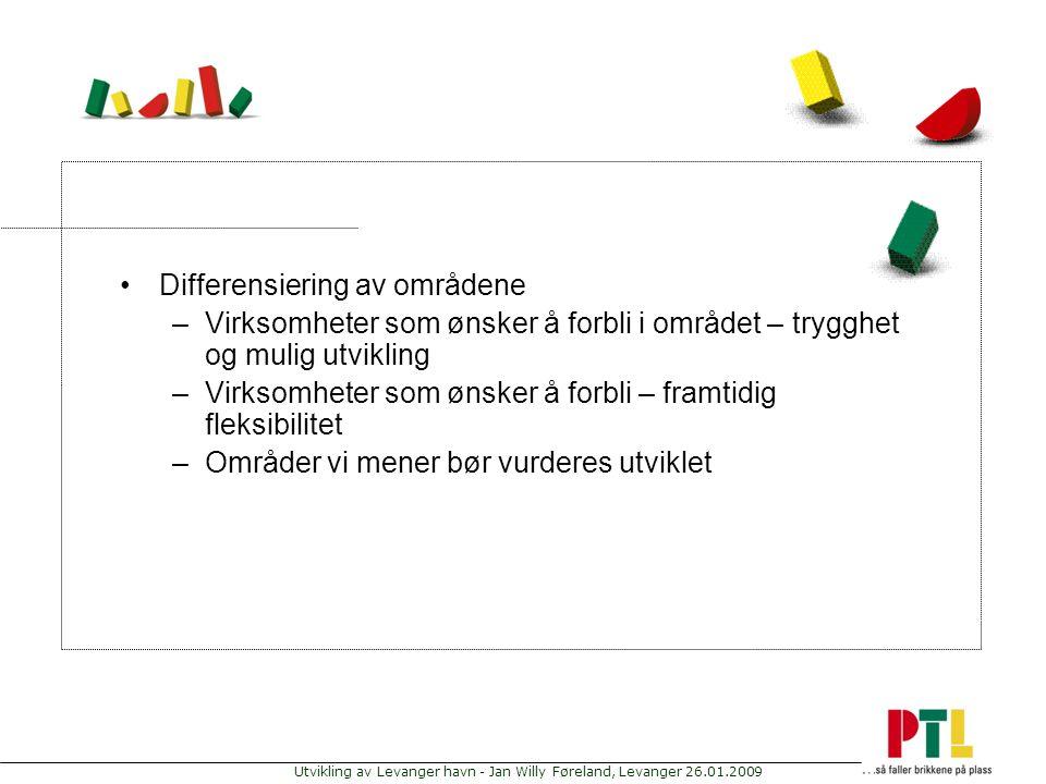 Utvikling av Levanger havn - Jan Willy Føreland, Levanger 26.01.2009 Differensiering av områdene –Virksomheter som ønsker å forbli i området – trygghe