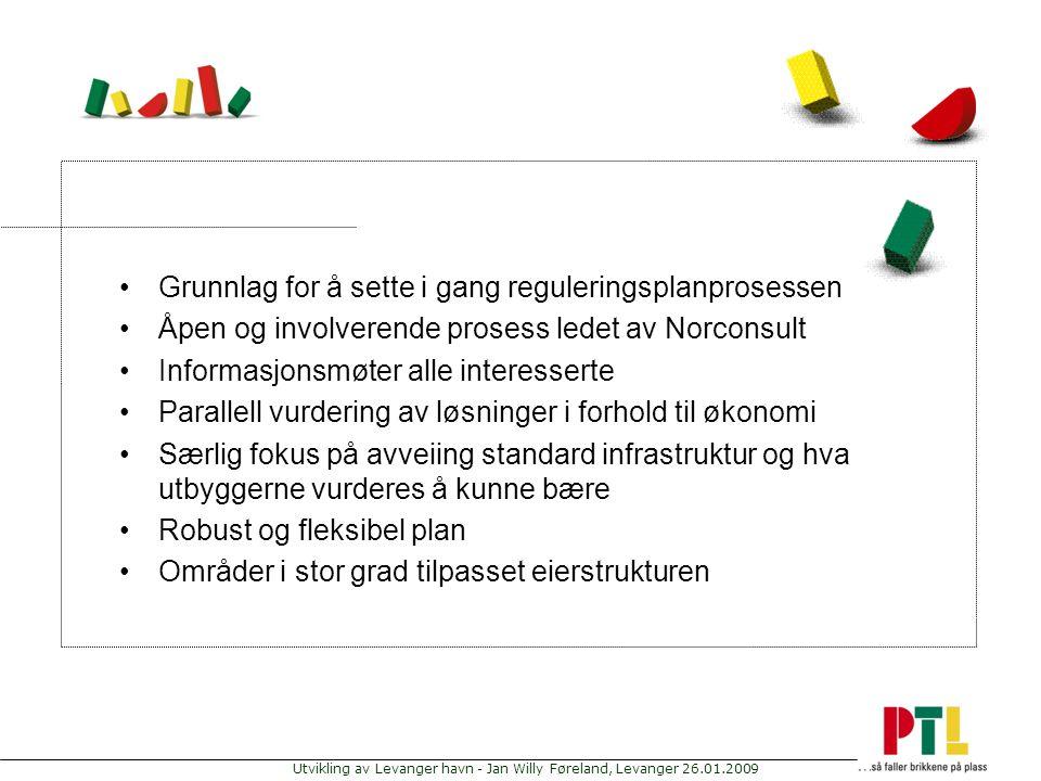 Utvikling av Levanger havn - Jan Willy Føreland, Levanger 26.01.2009 Grunnlag for å sette i gang reguleringsplanprosessen Åpen og involverende prosess